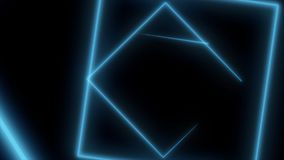 Abstract background with neon squares. Seamless loop. Neon square shape laser.  Royalty Free Stock Photos