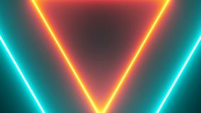 Abstract background with neon triangles. Seamless loop stock video footage