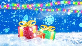 Background with nice snowflakes and xmas gift boxes 3D rendering. Abstract Background with nice snowflakes and xmas gift boxes Royalty Free Stock Photo