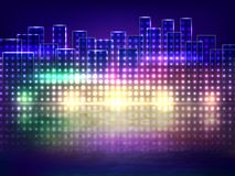 Abstract background of night city over water Stock Photo