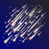 Abstract background of night sky with comets Royalty Free Stock Photo