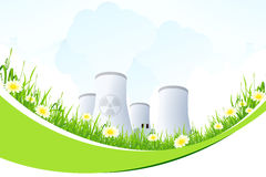 Abstract Background with Nuclear Power Plant and Grass Royalty Free Stock Photos