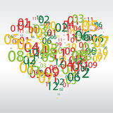 Abstract background with the numbers in the shape of heart. Stock Photography