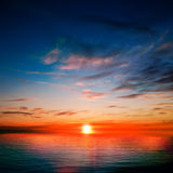 Abstract background with ocean red sunset Royalty Free Stock Photography