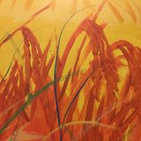 Abstract Background With Oil Painted Grass Stock Image