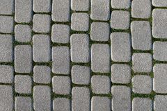 Abstract background of old cobblestone pavement. View from above Stock Photo