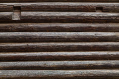 Abstract background of old logs, old wall of logs. Stock Photos