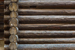 Abstract background of old logs, old wall of logs. Royalty Free Stock Images
