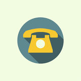 Abstract background with an old rotary telephone. Icon with an old rotary telephone. Call technical support. Contacts. flat design with long shadows Royalty Free Stock Photography