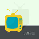 Abstract background with old TV and antenna. Browse TV shows, commercials, movies and TV series. homeliness. Flat design with shadow royalty free illustration