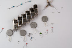 Abstract background  with old, vintage radio components Royalty Free Stock Photography