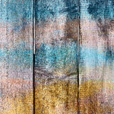 Abstract background old wooden fence painted in different bright Stock Photography