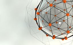 Abstract background. Orange connecting dots with space for text Stock Images