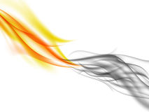 Abstract background with orange flames and grey smoke in front of each other. Fiery smoke, vector illustration Stock Photography