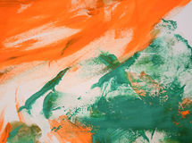 Abstract background of orange and green colors. Abstract background of smears of orange and green on a white background Stock Images