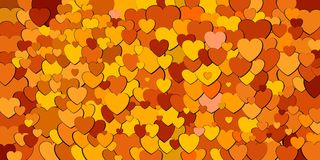 Abstract background with orange hearts. Illustration, Various shades of orange hearts background Vector Illustration