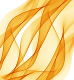 Abstract background with orange waves of transparent flying material. Abstract white background with orange waves of transparent flying material Royalty Free Stock Photography