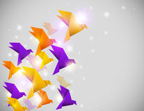 Abstract background with origami birds. Vector abstract shining background with origami birds royalty free illustration