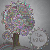 Abstract background with ornamental graphic magic tree with a lo Royalty Free Stock Photography