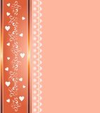 Abstract background with ornaments and hearts. Romantic background with hearts and swirls with gold spacers vector illustration