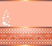 Abstract background with ornaments and hearts. Romantic background with hearts and swirls with gold spacers royalty free illustration