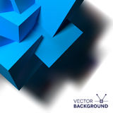 Abstract background with overlapping blue cubes. Abstract background with realistic 3D overlapping blue cubes in the corner Stock Image