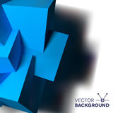 Abstract background with overlapping blue cubes. Abstract background with realistic 3D overlapping blue cubes on the left Stock Photography