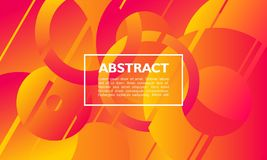 Abstract background with overlapping circle and ring shape on orange color stock illustration