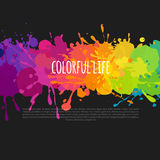 Abstract background with paint splatters and stains. Bright and colorful banner with paint stains and splatters on a black background, vector abstract background Stock Image