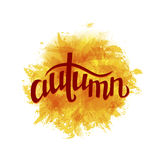 Abstract  background with paint stains, brush strokes, blots and. Hand drawn word autumn. Imitation of watercolor.Vector illustration Stock Photography