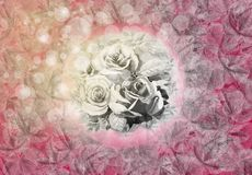 Abstract background painting watercolor roses, leaves illustration. Stock Photo