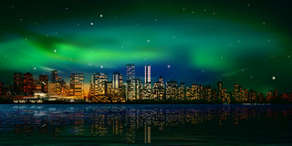 Abstract background with panorama of vancouver and sunset Royalty Free Stock Images