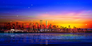 Abstract background with panorama of vancouver and sunset. Abstract city background with panorama of vancouver and red sunset Stock Images
