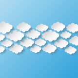 Abstract background with paper clouds Royalty Free Stock Images