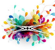 Abstract background with paper flower. Vector art royalty free illustration