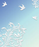 Abstract background with paper flowers and birds. Royalty Free Stock Photo