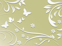 Abstract background with paper flowers and butterflies. Royalty Free Stock Photo