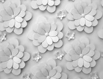 Abstract background of paper flowers. Monochrome 3D pattern. Abstract background of white paper flowers. Monochrome 3D rendering pattern vector illustration