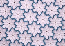 Abstract background of paper flowers. Monochrome 3D pattern. Abstract blue background of paper flowers. 3D rendering pattern stock illustration