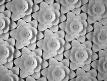 Abstract background of paper flowers. Monochrome 3D pattern. Royalty Free Stock Photography
