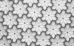 Abstract background of paper flowers. Monochrome 3D pattern. Abstract background of white paper flowers. Monochrome 3D rendering pattern stock illustration