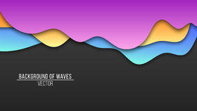 Abstract background of paper multicolored waves. Cardboard waves. Vector application with shadows. Modern design. Background, temp. Late for your project. Vector Royalty Free Stock Photography