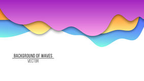 Abstract background of paper multicolored waves. Cardboard waves. Vector application with shadows on a white background. Backgroun. D, template for your project Stock Images