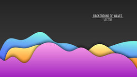 Abstract background of paper multicolored waves. Flat waves. Vector application with shadows. Modern design. Background, template Royalty Free Stock Images