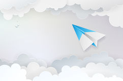 Abstract background with paper plane, clouds and birds Stock Photos