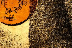 Abstract background with partial orange circle. Abstract colored illustration with partial orange circle and sprinkled texture Royalty Free Stock Photo