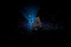 Abstract background. Particles in space with broken cube and vol. Abstract 3D background. Particles in space with broken cube and volumetric light Royalty Free Stock Images