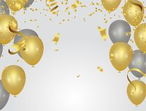 Abstract background party celebration confetti frame template wi. Th confetti  silver gold  ribbons Royalty Free Stock Image