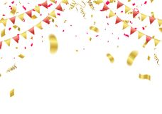 Abstract background party celebration gold and red confetti. Eps.10 Royalty Free Stock Photography