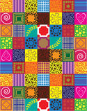 Abstract background with patchwork motives. Retro page layout colorful funny patchwork motives Stock Image